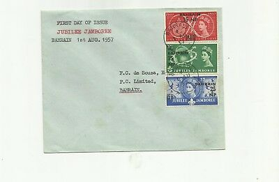Bahrain 1957 Scouts set on plain first day cover
