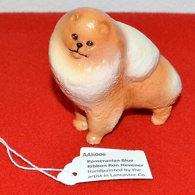 Ron Hevener Collectible Pomeranian Blue Ribbon Hand Painted Dog Chow-chow
