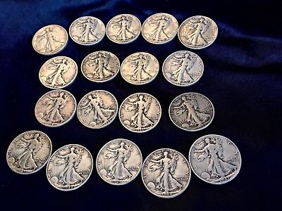 Short Set of18 Walking Liberty Half Dollars 1934-1947 P,S & D Lightly circulated