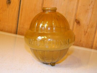 Antique W C Shinn Lincoln Neb Belted Amber Glass Lightning Rod Ball