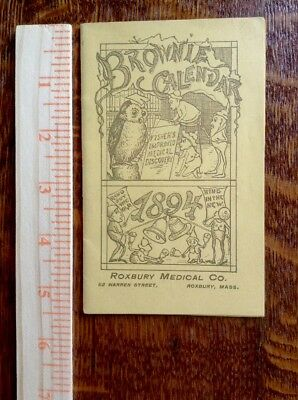 Vintage Advertising Brownies Calendar Booklet Illustrt'd 1894 Roxbury Medical MA