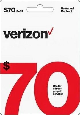 $70 Verizon Phone Refill Card- Can email to you in minutes!