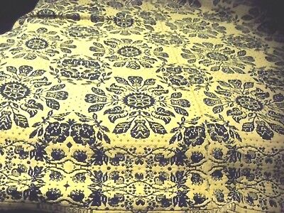 """Antique Blue And Tan Woven Coverlet 1839 76"""" By 82"""""""