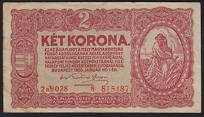 1920 Hungary 2 Korona Vintage Paper Money Banknote Rare Antique Currency Old