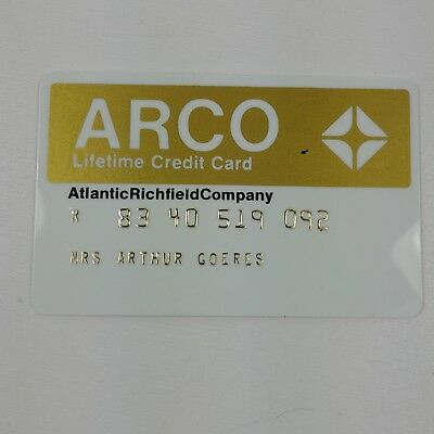 Vtg 1960s ARCO Lifetime GOLD Credit Card Atlantic Richfield Company 05