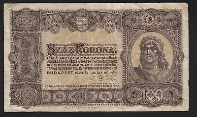1923 Hungary 100 Korona Vintage Paper Money Banknote Rare Antique Currency Old