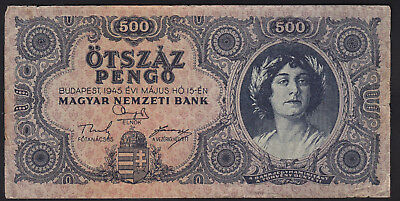 1945 Hungary 500 Pengo Vintage Paper Money Banknote Rare Antique Old Currency