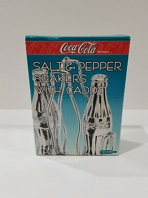 Coca Cola Contour Bottle Chrome Plated Glass Salt & Pepper Shakers w Caddy