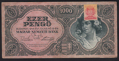 1945 Hungary 1000 Pengo Vintage Paper Money Banknote Rare Antique Old Currency