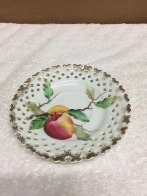 Lefton China Hand Painted Saucer Plate With Cut Outs