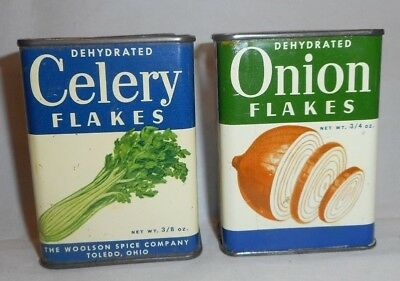 2 Vintage Woolson Tin Spice Containers Dehydrated Onion & Celery Flakes