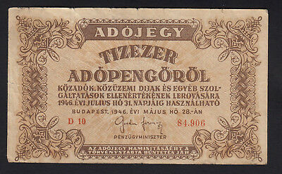 1946 Hungary 10000 Adopengorol Vintage Paper Money Banknote Rare Antique Old