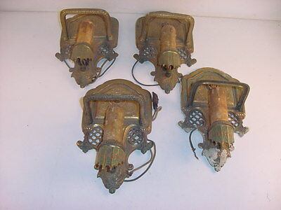 4 Matching Deco Slip Shade Sconces~Gill,glass & Fixture Co.~Rosemont~No Shades