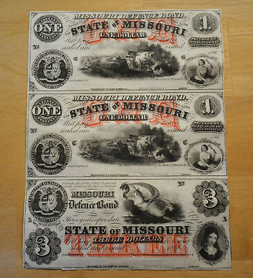 US Obsolete Currency Uncut Sheet of 3 Remainder, State of Missouri Defence Bond