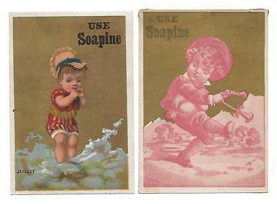 "Soapine Soap Set Of 2 Victorian Trade Cards ""use Soapine"""
