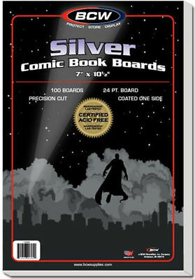 100 NEW Acid Free BCW SILVER Boards FREE SHIP