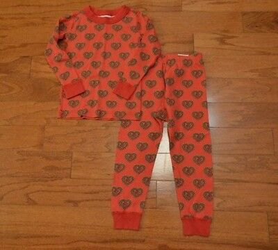 Girl's HANNA ANDERSSON Red Heart Flower 2 Piece Pajama Set Size 90