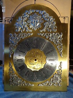 Bass Grandfather Clock Dial with Pewter Decorative Attachments and Engravings