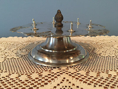 Antique Rotating Silverplate Sewing Spool Thread Holder Caddy