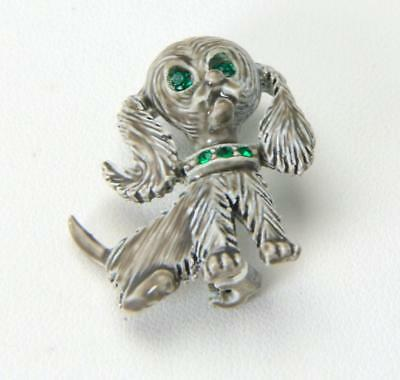 Vintage 60s Adorable Gray Puppy Dog Brooch Pin Green Rhinestones Signed Gerrys