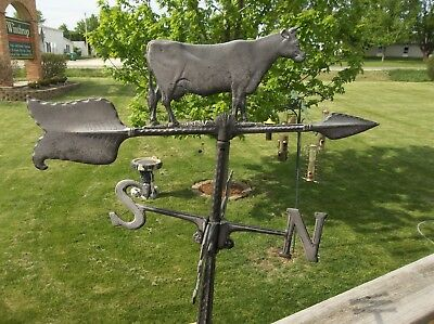 VINTAGE WEATHER VANE with COW AND DIRECTIONAL & Roof Mount Bracket CAST METAL?