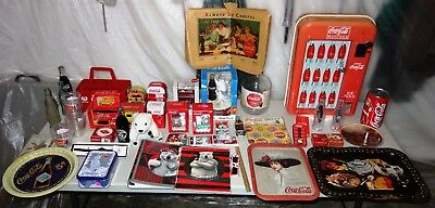 Vintage Lot Coca Cola Clocks Watch Display Book Cover Syrup Tray Plush More