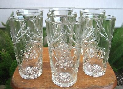 "Lot of (7) Anchor Hocking Early American Prescut 15 oz 6"" Iced Tea Tumblers"