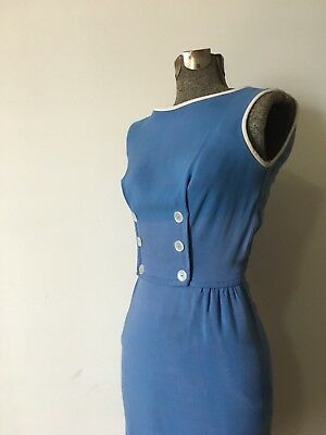 Vintage 50s Blue And White Wiggle Dress