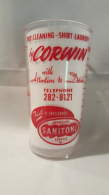 Vintage advertising measuring glass - Corwin Dry Cleaning