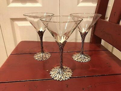 Set of 3 Grey Goose Martinis Glasses with Pewter Stems.