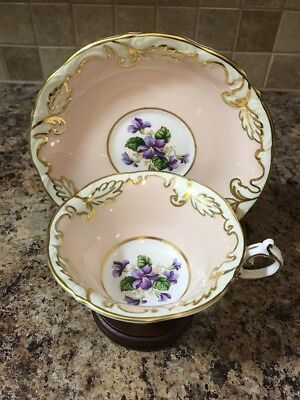 Paragon By Appointment Fine Bone China England Tea Cup Saucer Violets Pink Gold