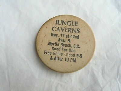 Cool Vintage Jungle Caverns Myrtle Beach SC Free Game Wooden Nickel Token Coin