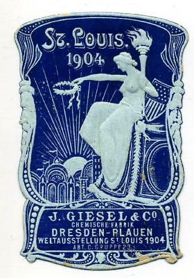 ST LOUIS WORLDS FAIR - Striking / Gorgeous Old Advertising Poster Stamp, 1904