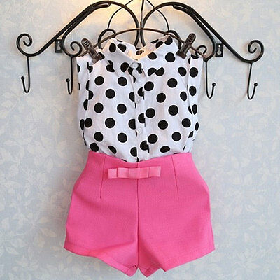 Summer Girls Baby Kids Polka Dot Shirt Tops & Pink Pants Shorts Outfit 1-6Years
