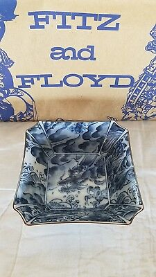 SEA DRAGON by Fitz and Floyd - Set of 4 Square Bowls in Excellent Condition