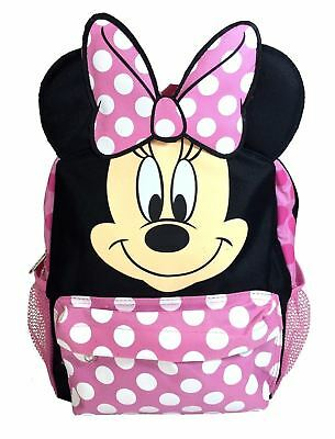 "12"" Disney Minnie Mouse Face Back to School Backpack with 3D Ear"