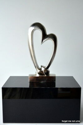 cremation urn funeral silver brass Heart on black glossy box keepsake