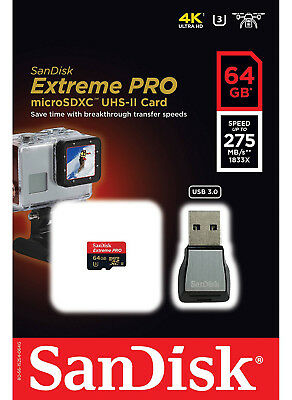 Sandisk Extreme PPR 64GB MicroSDXC UHS-II Action Cam Drone USB 3.0 Reader 275MBs