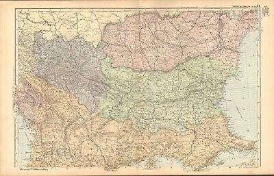 1893 Antique Map - Turkey And Greece, North, Serbia, Montenegro, Constantinople