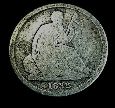 1838-O 10C No Stars Liberty Seated Dime US Coin Low Mintage 406,034 Type Var 1 *
