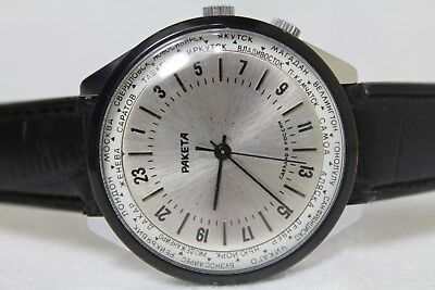 Soviet Raketa 24H Watch Russian USSR Polar Vintage Men Wristwatch Serviced Rare
