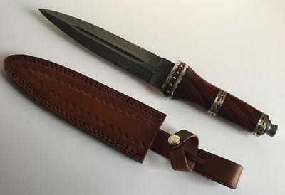 """Scottish Dirk Wood Dagger Damascus Steel Fixed Blade with Leather Sheath 13.75"""""""