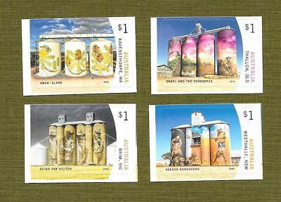 """2018 Australian """" Silo Art """" ~ Set Of 4 From Booklets ~ Mint Un Hinged"""