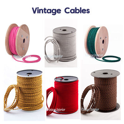 Vintage Braided Fabric Cable flex 3Core Twist /Round Wire Electric Light 0.75mm