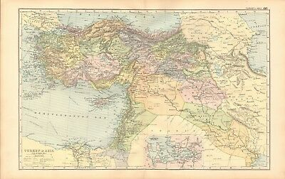 1893 Antique Map - Turkey In Asia, Iran, Iraq, Syria, Palestine, Israel, Cyprus