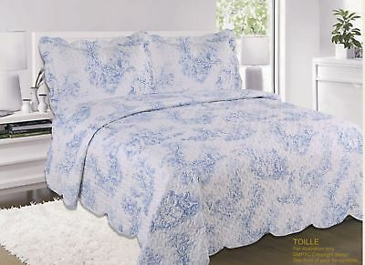 King Size Vintage Blue French Toile Luxury Quilted Bedspread & Pillowsham Set