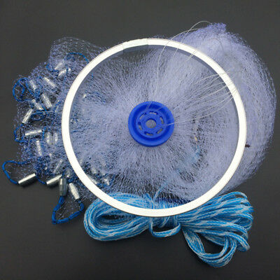 8FT Full Spread Mesh Wire Hand Throw Nylon Cast Fishing Net Spin Bait Sinker
