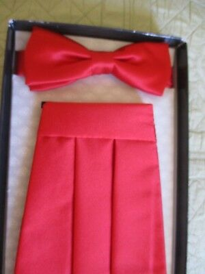 Tie Rack London Red Pleated Vintage 1990's Cummerbund Formal  Bow Tie Wedding