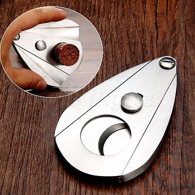Pocket Silver Stainless Steel Double Blade Cigar Cutter Guillotine Scissors Tool