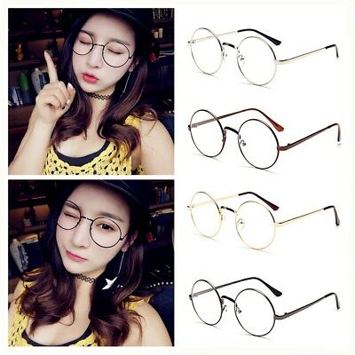 Fashion Oval Round Clear Lens Glasses Vintage Geek Nerd Retro Style Metal Frame